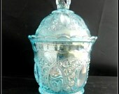 Vintage ice blue aqua Imperial Glass Company carnival glass Beaded Jewel Oregon candy jar with lid