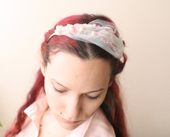 beaded white veil bridal headband with pink pearl beads