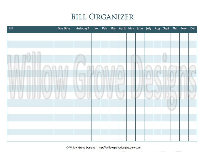 Pin Free Printable Monthly Bill Organizer Sheets on Pinterest