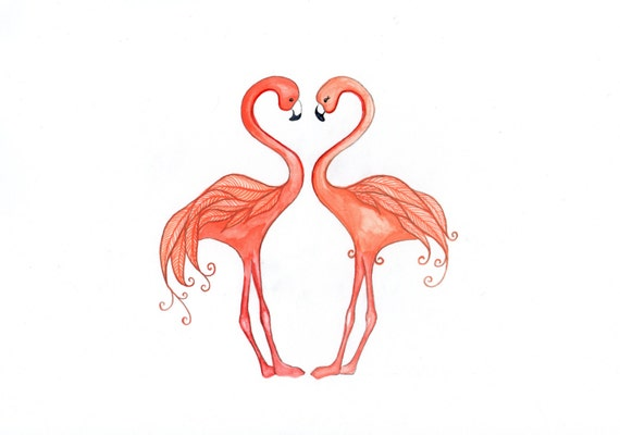 Flamingos In Love, Valentine's Card, print from original watercolour