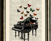 Vintage Piano Illustration with Butterflies - vintage image printed on a page from an early 1900s Dictionary Buy 3 get 1 FREE - PixelArtPrints