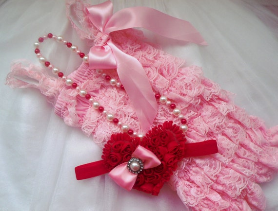 Baby Pink,Lace Petti Romper,Red Chiffon heart Headband and Necklace Set,Valentine's Gift Set,Newborn Headbands,Photo Prop,Ready to Ship