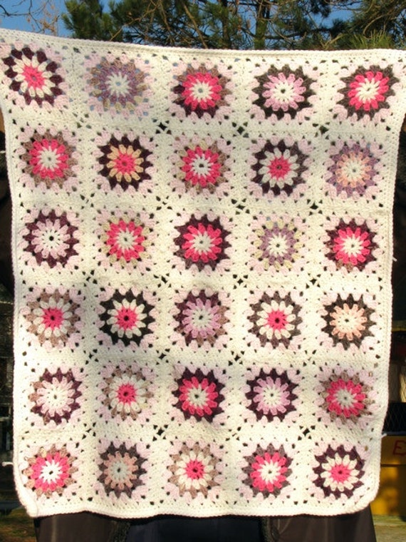 Granny square afghan baby blanket - kaleidoscope, colorful, hand crocheted, OOAK