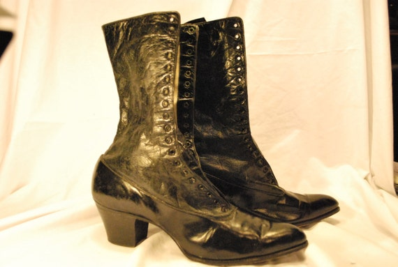 Black Leather Granny Boots, Victorian / Edwardian Style