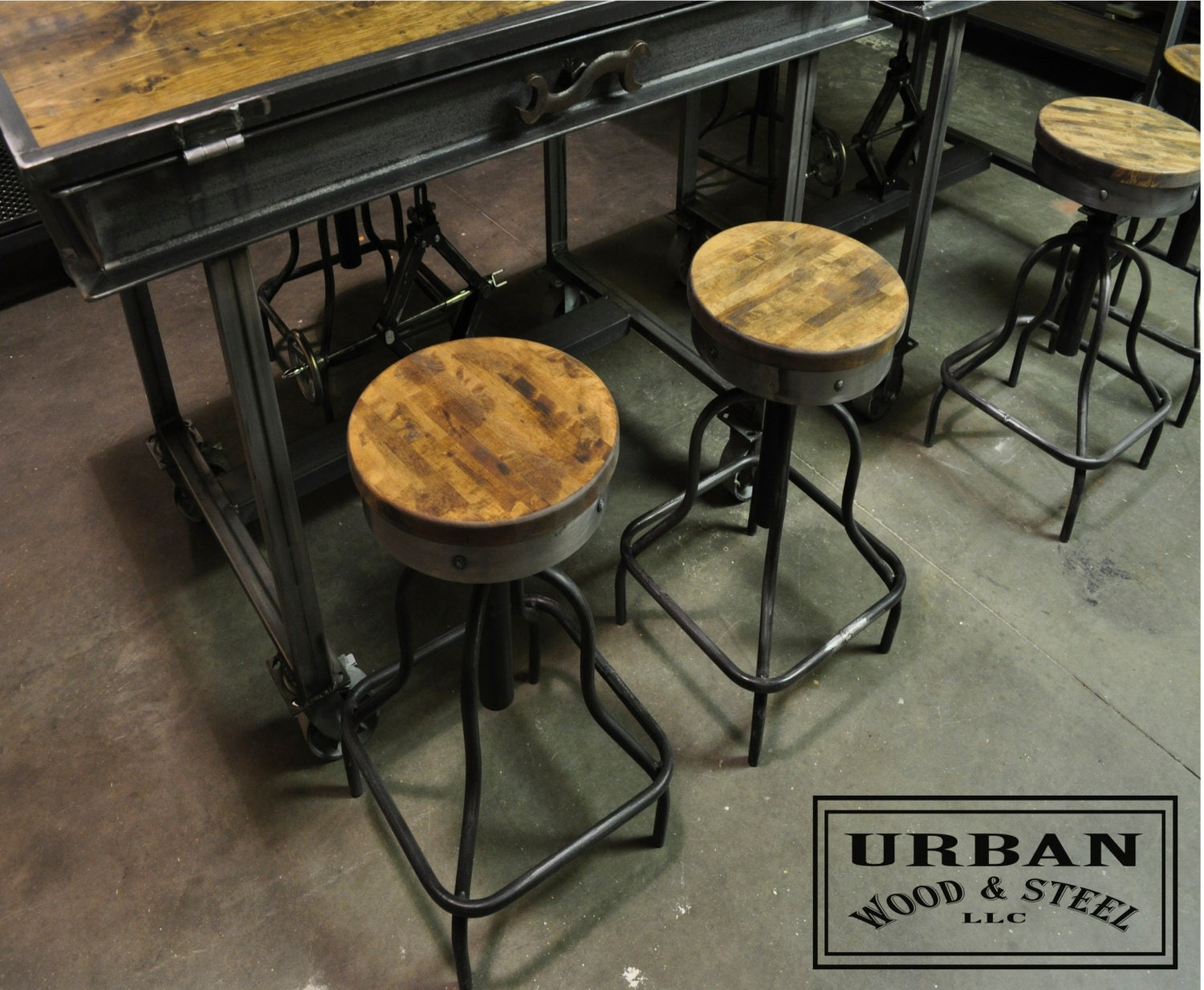 Reclaimed Burtcher Block Drafting Stools