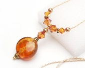 Iced Tea Golden Peach Lampwork Glass Mini Pendant Necklace with Swarovski Crystal and Satin Gold Chain - 16 Inch Long