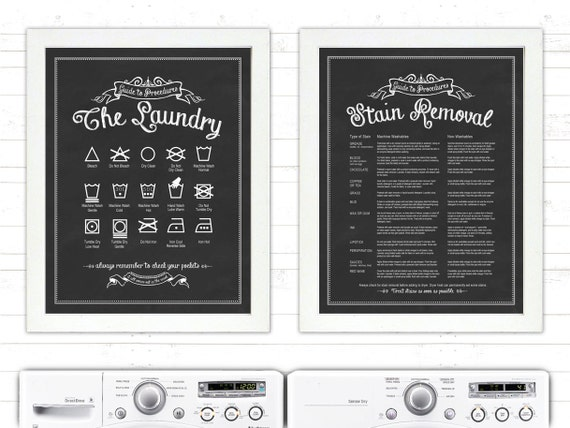 SET 'The Laundry and Stain Removal' - 11x14 print set - Guide To Procedures, Laundry Room, Guide, Rules, Sign, Vintage, Stains, Decor, Art