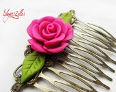 Gothic floral comb with deep fuchsia handmade polymer clay rose and green leaves