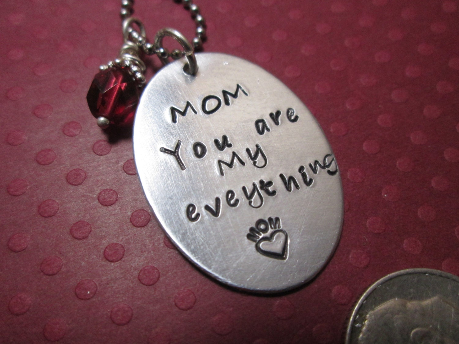 mom you are my everything necklace handstamped necklace