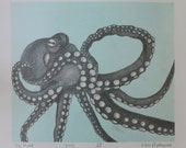 Octopus Graphite Monotype Print - Available on white paper with pale blue background OR on manilla paper with natural background