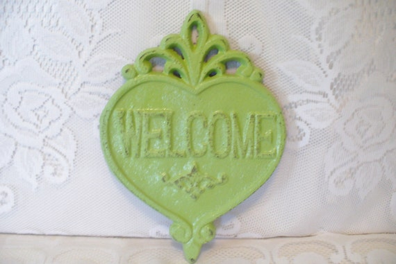 Cast Iron Welcome Door Sign / Wall Decor Plaque by KatsKoolStuff