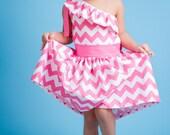 Chevron One-Shoulder Dress Toddler 2T 3T 4T - AvasClosetKodiak