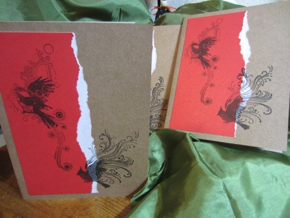 4 Handmade stamped greeting cards- birds