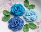 3 Crochet  Flowers (Roses) With Leaves YH - 142-03 - YHcrochet