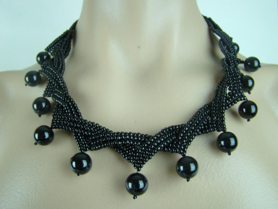 Ribbon and pearl necklace, black  pearl seed beads necklace, fringe pearl necklace, seed beads jewelry, 7PM boutique, weaved necklace
