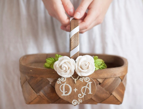 Wedding Flower Girl Basket Rustic Wedding
