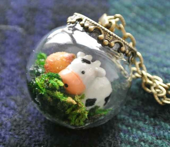 10% SALE Necklace Terrarium Kawaii Moo Cow and Grass Glass Bead Orb