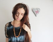 Wood beads long necklace, chunky, braided/ African - Boho - Ethnic style / Gold pendant and colorful braids / Unique - CelineH2O