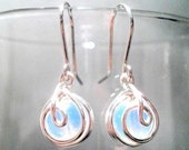 Silver Earrings Opalite Handmade Wire Wrapped Iridescent Dangle Earrings