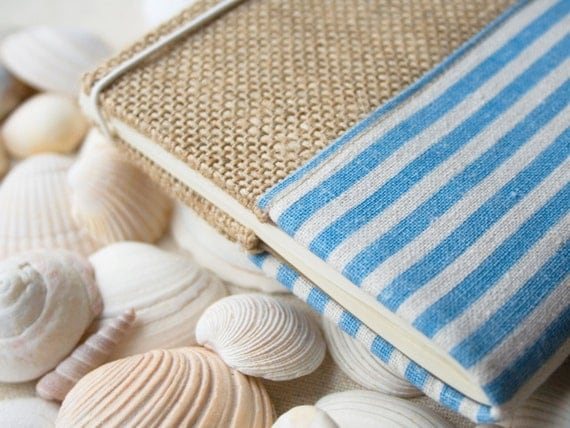 Fabric notebook, eco friendly, burlap cover, notebook case, pocket notebook, refillable notebook, blank book  - stripe blue