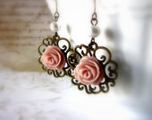 Free Shipping - Roses earrings Romantic earrings Pink roses Antique style Vintage Inspired earrings - Roses are pink - WhiteTeapot