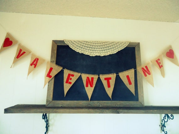 Valentine and Hearts Valentines Day Triangle Burlap Banner /Party / Engagement  Wedding Sign Garland Bunting
