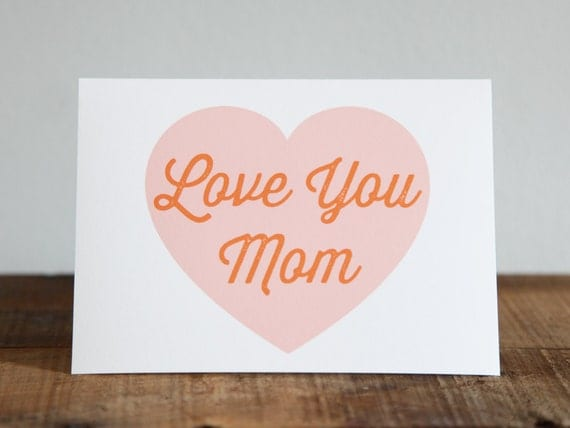 Custom - Love You Mom / Mother's Day Card // Letterpress Stamp Font / mothers / personalized