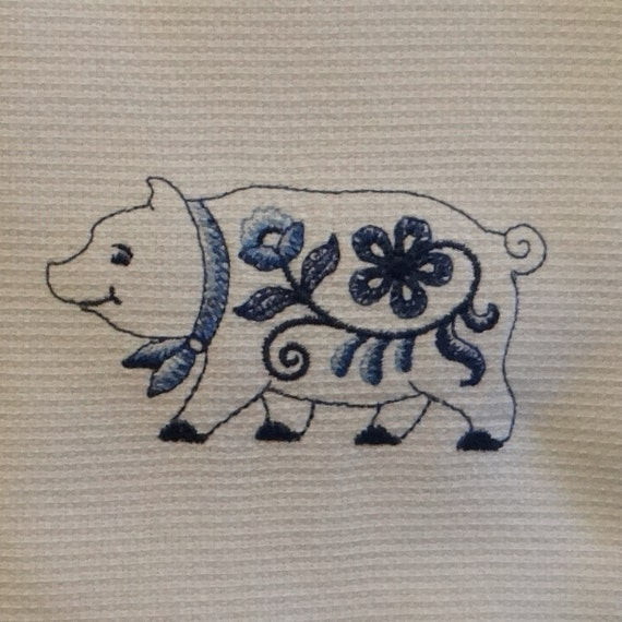 Delft Blue Pig Cotton Huck Kitchen Towel