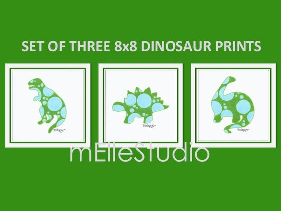Boy Dinosaur Nursery Art // Baby Blue Green Art // Boys Dinosaur Bedroom // Kid's Dinosaur Art // Children's Dinosaur Bedroom // 8x8 Art