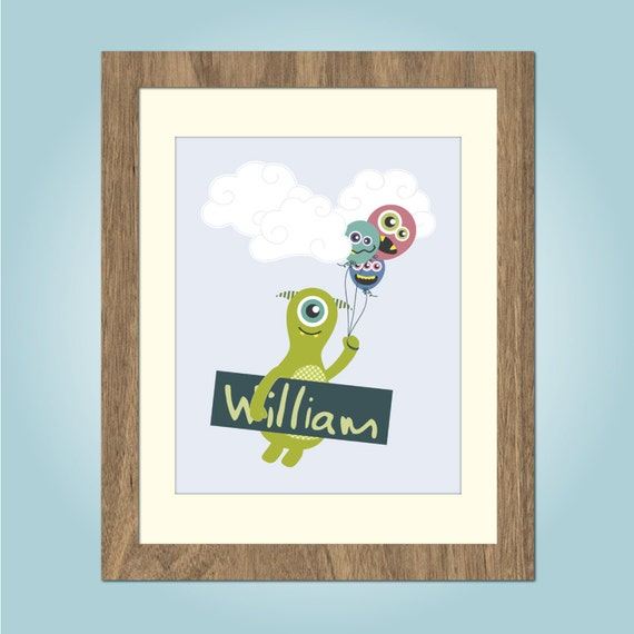 Childrens Wall Art, Kids Wall Art, Monster Art, Childrens Decor, Personalised Print - 8x10in or A4