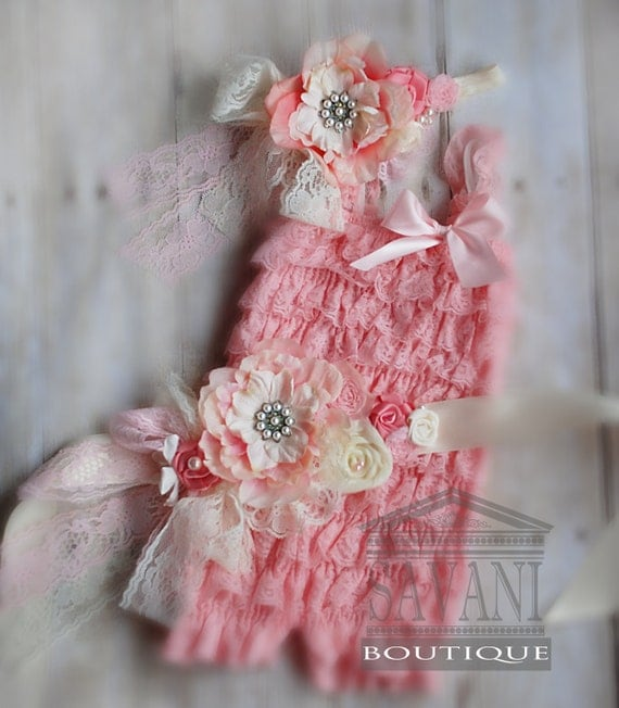 Vintage lace romper set,3 pieces pink and ivory lace romper set. Lace Petti Romper , headband and belt, Baby Girl Photo Prop