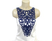 Handmade Cotton Lace Collar, necklace- Navy blue, Blue- Woman Accessories- Gothic- Circle - Woman Applique - OOAK