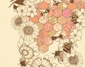 "A Quilt Of Honey Bees 12"" x 16"" - Buttermoths"
