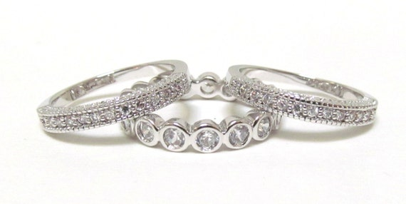 Engagement Bands, Stacking Rings, Rhodium Plated CZ Rings, Eternity CZ Ring, Size 6, 7, 8 and 9