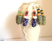 African jewelry colorful Ghanaian beaded earrings: green and blue