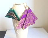 Triangle-shaped African fabric earrings