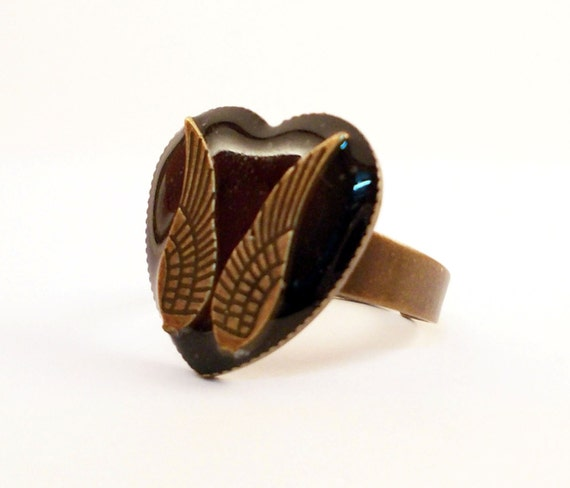 Heart Shaped Ring, Black Resin Jewelry, Antiqued Brass Ring With Wing Charms
