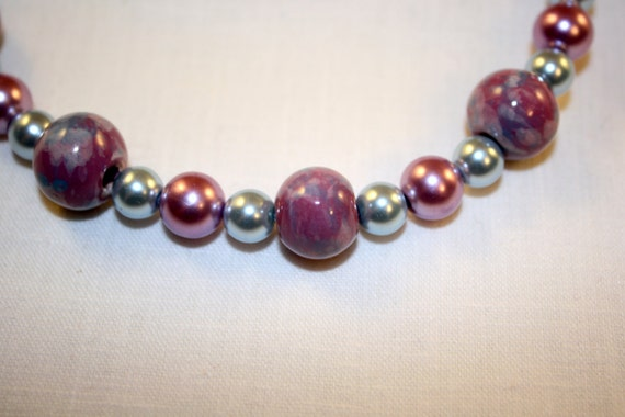 "Soft mauve and light blue beaded 18"" necklace"
