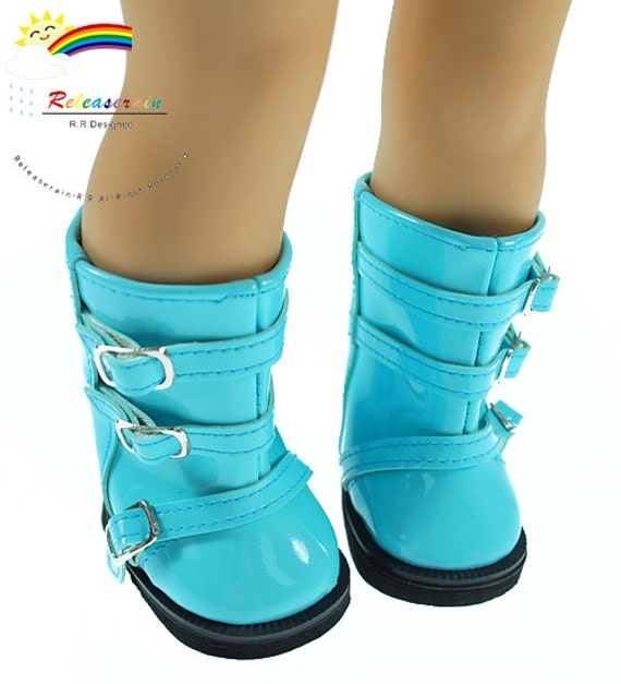 "Patent Leather Buckles Boots Doll Shoes Patent Pale Blue for 18"" American Girl dolls"