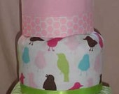 Pink and Green 3Tier Custom Diaper Cake - ACozyChickadee