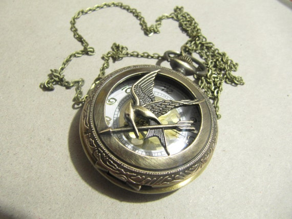 The Hunger Games Pocket Watch Necklace, Inspired Mockingjay Locket Necklace With Arrow in retro style