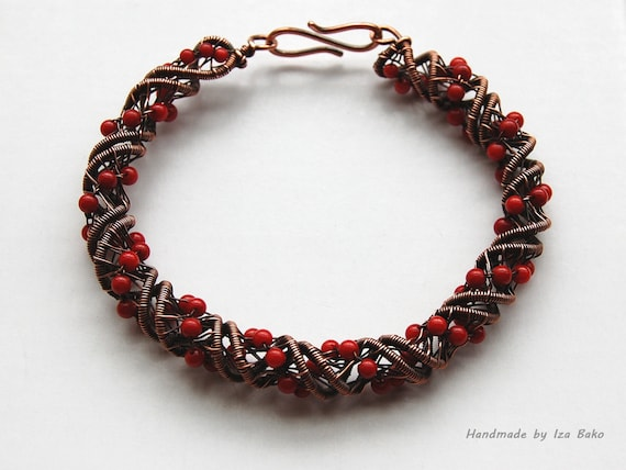 One of a Kind, Copper and Coral Wrapped Spiral Bracelet