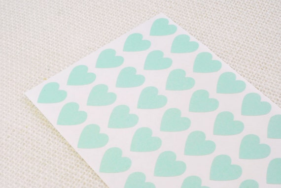 "Mint Green Heart Stickers 3/4"" - Free Shipping / Pack of 82 / Envelope Seals / Wedding Seals / Wedding Invitation Seals / Heart Labels"