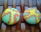 Extra Large Fabric Button Earrings-Python
