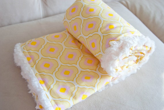 Baby Girl Minky Cuddle Rose Blanket - Free Spirit Pretty Little Things Ella Yellow and Lavender- Minky Cuddle Rose