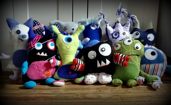Personalized Merry Monster Doll - Plush -  Handmade FOR YOU from Upcycled Materials