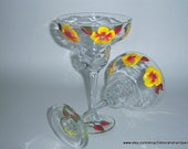 Margarita Glasses Hand Painted Wine Water Glasses Yellow Red Flowers Upcycled Drinks Cocktails Bar Interior Design Style USA Colorado