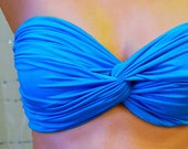 Malibu Blue Spandex Bandeau - Twisted Swimsuit Top - endoriwear