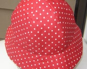 Ladies 100% Reversible Sun Bonnet, Red-White Polka Dot and Red interior - CathysCaps