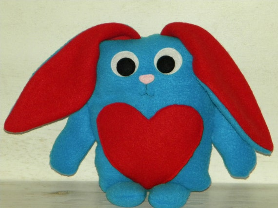 Handmade Blue and Red Plush Fleece Bunny - Fun Easter Gift